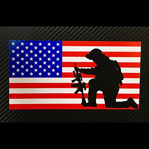 American Flag Soldier Kneeling Sticker Custom Vinyl USA Merica United States Marines Army Navy Airforce RED WHITE BLUE ()
