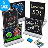 Mini Chalkboard Signs with Stand, 5 Pack Small Tabletop Chalk Board Sign Holder for Table Food Menus, Baby Shower, Decorative Wedding Decor, Birthday and Kitchen Parties - 5x6 Rustic White Wood Frame