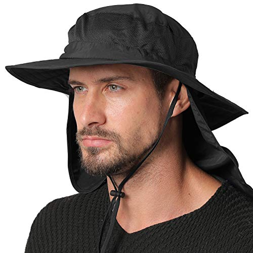 Jormatt Outdoor Fishing Sun Hat Waterproof UV Protection Wide Brim Sun Hat with Flap Neck Cover Mesh Breathable Foldable Safari Cap Unisex UPF 50+,Black