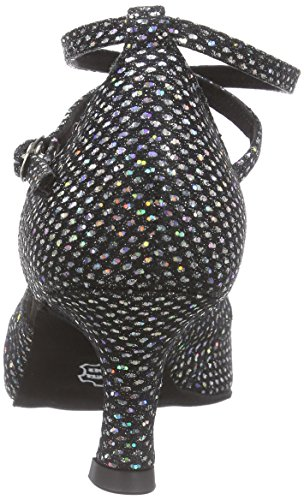 Diamant Diamant Damen Latein Tanzschuhe 141-077-183 - Zapatillas de Baila Moderno y Jazz Mujer Negro (Negro/Silber Hologramm)