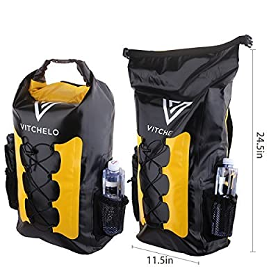 Vitchelo 30L Waterproof Dry Bag Backpack for Outdoor Water Sports Kayaking Camping - Fly Fishing & Boating Gifts for Men - 100% Tear-Free, Lifetime Kayak Storage Bag - Free Waterproof Phone Pouch