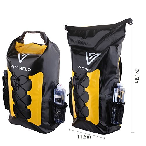 Vitchelo 30L Waterproof Dry Bag Backpack for Outdoor Water Sports Kayaking Camping - Fly Fishing & Boating Gifts for Men - 100% Tear-Free, Lifetime Kayak Storage Bag - Free Waterproof Phone Pouch by Vitchelo (Image #1)