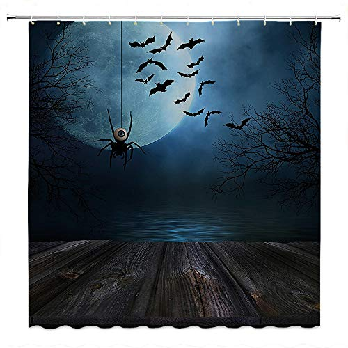 SATVSHOP European-Style-Bathroom-Decoration-Durable-Waterproof-Fabric-Halloween-Foggy-Lake-usty-Wooden-Deck-Spider-with-Eyeballs-and-bat-Blue.W72-x-L96-inch]()