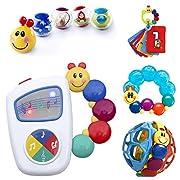Baby Einstein 9-Piece Essentials Bundle - Take Along Tunes, Shake & Teethe, Caterpillar Rattle and Teethe, Bendy Ball and Roller-Pillar Activity Balls