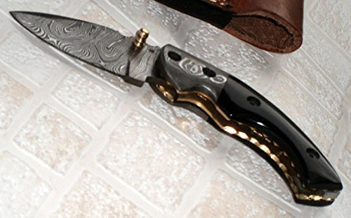 Poshland Knives FN-50 Custom Handmade Damascus Steel Folding Knife- Buffalo Horn Handle