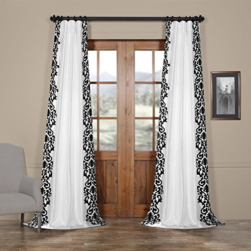 HPD HALF PRICE DRAPES PTFFLK-C36A-84 Castle Flocked Faux Silk Curtain, White & Black, 50 x 84