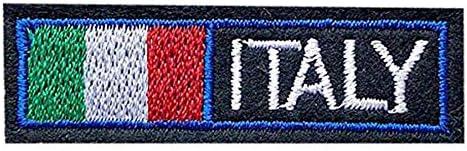 国旗 ワッペン 刺繍 アイロン接着 縦1.8cm×横5.9cm イタリア ITALY アップリケ アイロンワッペン 手芸 かわいい