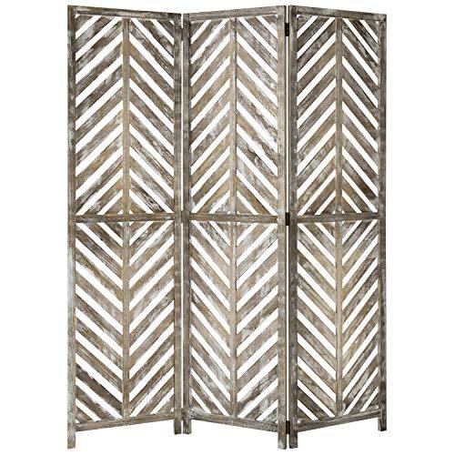 MyGift 3-Panel Solid Whitewashed Wood Folding Aloha Room Divider