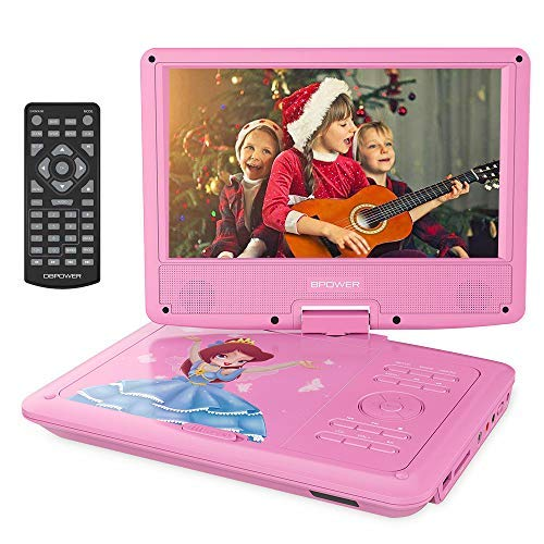 "DBPOWER 11.2"" Portable Kids DVD Player with Built-in Rechargeable Battery, 9"" Swivel Screen, SD Card Slot and USB Port,1.8M Car Charger and 1.8M Power Adaptor (Pink)"