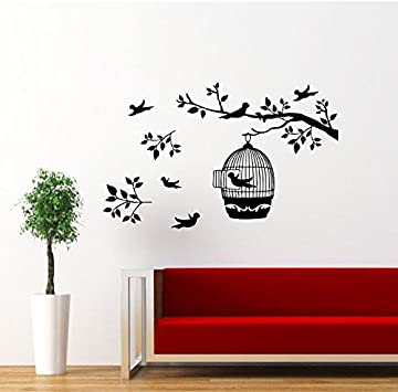 wall decal branch wall decal nursery wall decal children decal girl boy room Vinyl Wall Decal Wall Sticker Two Branches with birds cage