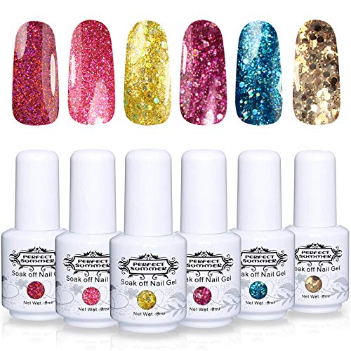 - Perfect Summer Gel Nail Polish Set - 6PCS Long Lasting UV Gel Colors Varnish Nail Starter Kit Glitter Lacquer Soak Off System Gift Set 8ML 097