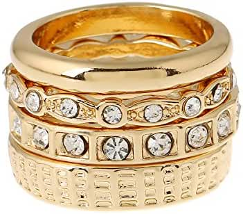 D EXCEED Silver or Gold Round Stacking Polished Band Crystal Ring Set for Women Size 6 7 8 9
