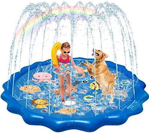 "QDH Splash Pad Sprinklers for Kids Dogs 68"" Splash Play Mat Summer Outdoor Water Toys for Toddlers Baby Wading Pools Outside Backyard Kids Sprinkler for 1-12 Years Old Children Boys Girls"