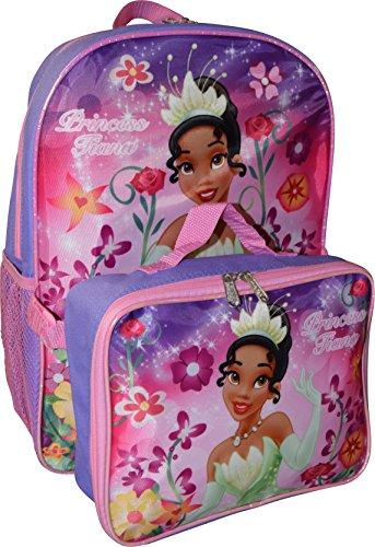 Disney Girls Princess Tiana 16 Backpack W/Detachable Lunch Box