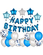 Boys Birthday Party Decorations | Blue Theme Birthday Banners | Party Decorations Set | Party supplies kit | Balloons + Stars Garlands + Banner + Glue Tape + Air Pump + Ribbons