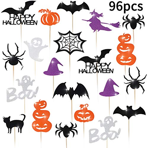 Witch Themed Halloween Food (Blulu 98 Pieces Halloween Cupcake Toppers Bat Pumpkin Ghost Witch Cake Picks Halloween Food Picks for Halloween Party Favors Birthday)