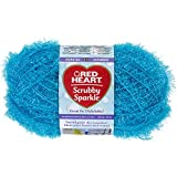 RED HEART Scrubby Sparkle Yarn, Icepop
