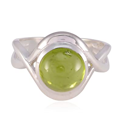 535c55b1fcbba Real Gemstones Round cabochon Peridot ring - Sterling Silver Green ...