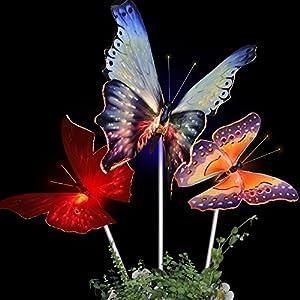 Solarmks Garden Solar Lights Outdoor Decorative Stake Lights ,Chameleon Multi-color Changing LED Fairy Garden Lights ,3 Pack Solar Fiber Optic Butterfly Garden Decorative Lights