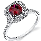 14K White Gold Created Ruby Cushion Cut Halo Ring 1.00 Carats sizes 5 to 9