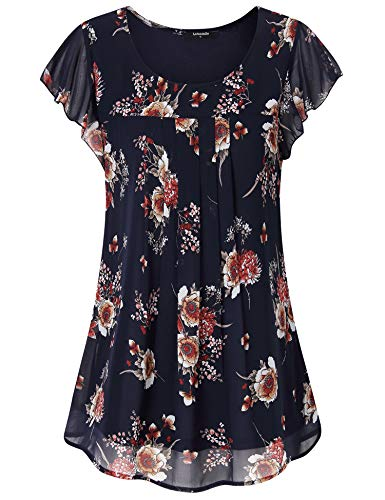 Lotusmile Work Shirts for Women, Ladies Summer Casual Fit and Flare Short Sleeve Floral Tops A Line Pleated Loose Tunic Layered Chiffon Blouses for Business Office Wear Fashion 2019,Royal Blue M