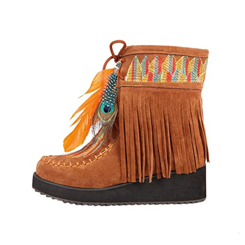 Women's Suede Wedge Embroidered Ankle Short Boots Indian Style Feather Tassels Booties (6 M US, - Boots Ankle Indian