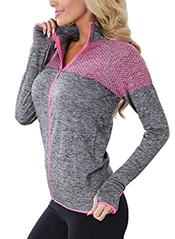 Aleumdr Womens Long Sleeve Slim Fit Full Zip Yoga Running Sports Workout Jacket Activewear Top Workout Coat Small Size (Fitted Jacket Juniors)