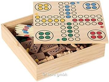 Bartl – 111459 – Juegos de Mesa Pequeño con 6 juegos – Ajedrez, damas, Ludo, Domino, Mikado y tarjeta Juegos.: Amazon.es: Juguetes y juegos