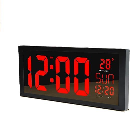 MYLEDI Reloj Digital Pared Reloj Grande De La Pared del LED con Múltiples Alarmas Calendario Temperatura Luz De Noche Cuenta Regresiva Controlador Remoto Mesa para Salón Dormitorio Cocina: Amazon.es: Hogar