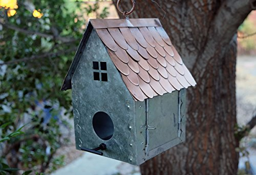 Nutshell Stores Cottage Style Bird House in Galvanized Steel & Copper