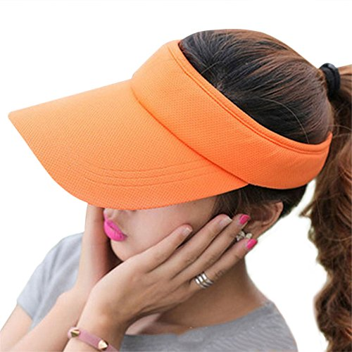 Fasbys Multiple Colors Sun Visors for Women and Men, Long Brim Thicker Sweatband Adjustable Hat for Golf Cycling Fishing Tennis Running Jogging and Other Sports Orange ()
