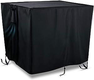 Kasla Fire Pit Table Cover Square 33 x 33 x 25 inch - 600D Heavy Duty PVC Waterproof Windproof for Patio Gas Firepit Furniture (Black)