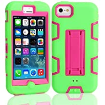 5C Case, iPhone 5C Case Cover,Lantier Full Body Hybrid Impact Shockproof Defender Case Cover With Kickstand for Apple iPhone 5C Green-Hot Pink