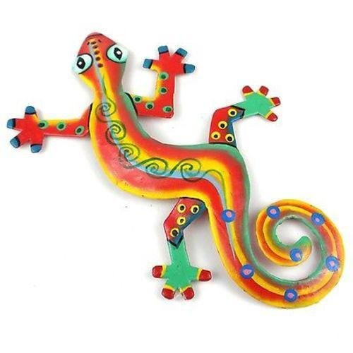 Red and Yellow Stripe Metal Gecko-8""