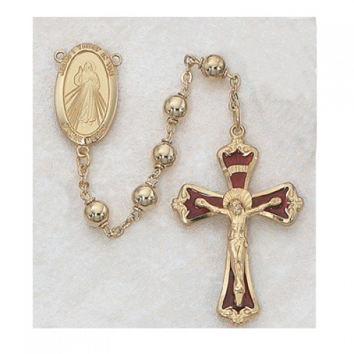 Gold Divine Mercy Catholic Rosary Beads - This Beautiful Specialty Rosary has 6mm Gold Plated Metal Beads with a Gold over Sterling Silver Red Enameled Crucifix and a Gold over Sterling Silver Divine Mercy Centerpiece. This Beautiful Rosary Comes Packaged by MV001