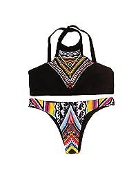 Womens Sexy dos piezas clásico de cuello alto Push Up Bikini Set Halter traje de baño