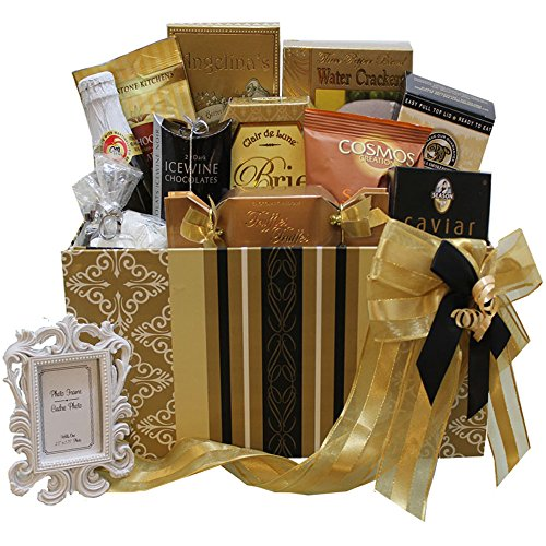 Bride Gift Basket (To Have and To Hold Wedding or Anniversary Gourmet Gift Box with Caviar (Chocolate Option))