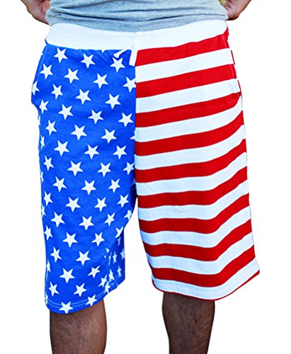 [Mens American USA Flag Print Swim Boardshorts] (Xxl Santa Suits For Sale)