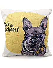 Mainstayae 45 * 45cm Flax Throw Pillow Case Soft Comfortable Breathable Cushion Cover Cute Dog Patterns