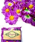 (100) Silk Violet Gerbera Daisy Flower Heads , Gerber Daisies - 1.75