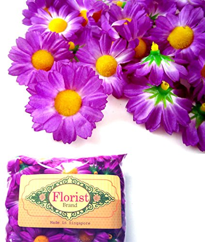 100-Silk-Violet-Gerbera-Daisy-Flower-Heads-Gerber-Daisies-175-Artificial-Flowers-Heads-Fabric-Floral-Supplies-Wholesale-Lot-for-Wedding-Flowers-Accessories-Make-Bridal-Hair-Clips-Headbands-Dress