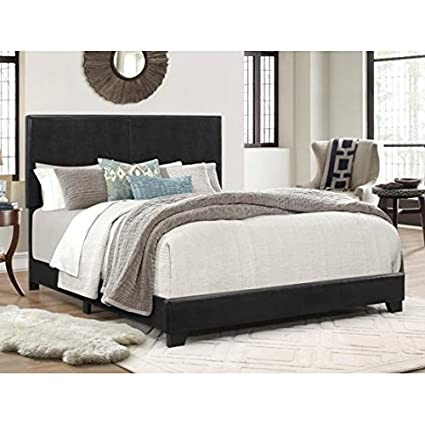 Amazon.com: Contemporary Full Size Faux Leather Bed in Black Finish ...