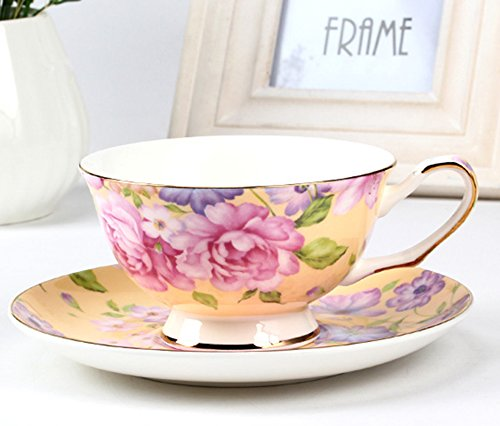 European Bone China Flower Printing Afternoon Tea Coffee Cup And (Saucer Yellow Flowers)