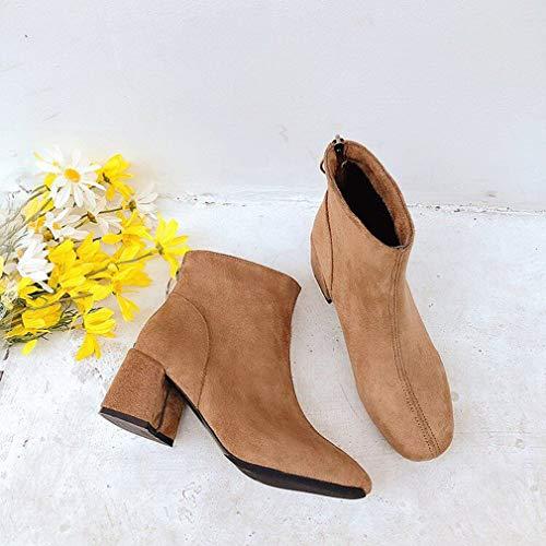Chaussures École Boucle Haut Hibote Bout Slip Talon Femmes On Mi Automne Jaune Daim Hiver Bottines Rond Chelsea Block qawZq70