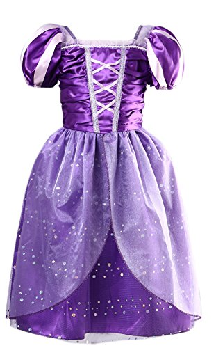 Little Girls Princess Rapunzel Dress Costume, Purple, X-Large