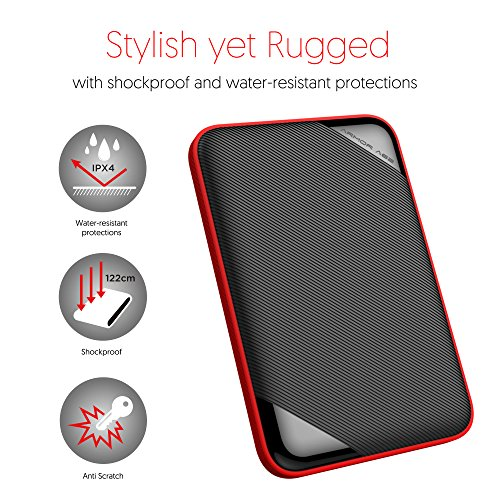 Silicon Power 4TB Ultra Slim Rugged Armor A62L Shockproof/ IPX4 Water-resistant USB 3.0 2.5'' Portable External Hard Drive (PS4 Xbox Compatible) by Silicon Power (Image #4)