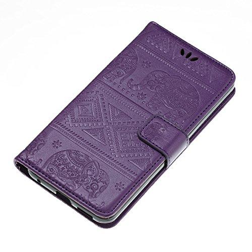 Funda LG G6, CaseLover Piel Libro Cuero Elefante Impresión Carcasa para LG G6 con TPU Silicona Case Cover Interna Suave Flip Folio Tapa y Cartera Cierre Magnético, Función de Soporte, Billetera y Tarj Púrpura