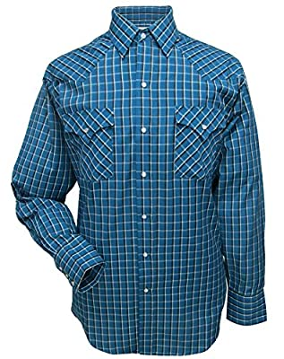 Ely Cattleman Long Sleeve Mens Navy Plaid Snap Western Shirt