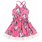 2Bunnies Baby Girl Toddler Lace Unicorn Flower Strappy Back Dress (Pink, 12 Months)