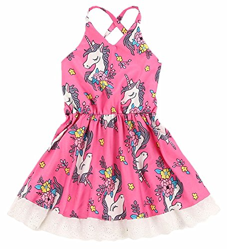 2Bunnies Baby Girl Toddler Lace Unicorn Flower Strappy Back Dress (24 Months) (Dress Strappy Girls)